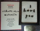 Sale Meteorite I LOVE YOU Sikhote Alin Extraterrestrial Meteorite Writing Display Genuine Space Rocks Fell 1947 Russia And Souvenir Card