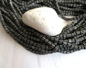 black glass seed beads, White stripe small matte opaque ethnic spacer barrel tube, New Indo-pacific  3 to 6mm / 10 in strd, 7ab36