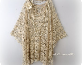 Long Tunic Shawl Mother of Bride Festival Clothing Hippie Clothing  Gypsy Shawl Bohemian Clothing made from Vintage Beach Cover Up