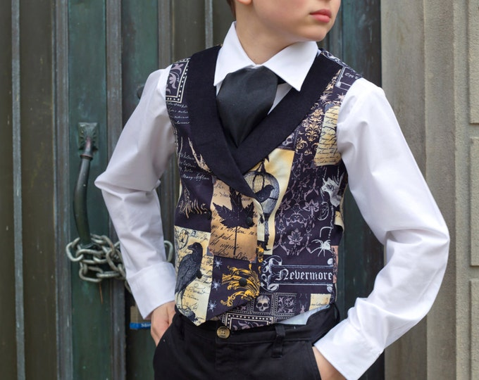 Boys Waistcoat - Double Breasted Vest - Toddler Vest - Boys Thanksgiving - Ring Bearer - Autumn Wedding - Edgar Allen Poe - 2T to Adult