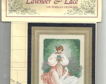 LADY CLAIRE by  LEAVITT - Imblum - Lavander & Lace - Mint Cross stitch Chart- 1997 - Stitching instructions in English - original packaging