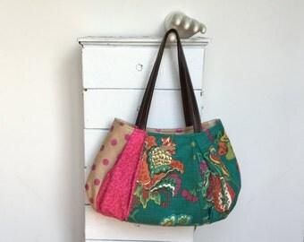 "Teal Hobo Unique Bag Burlap Purse Colorful Purse Colorful Diaper Bag Large Fabric Bag Large Hobo Summer Bag ""PASSIONFRUIT TEA"" jennjohn"