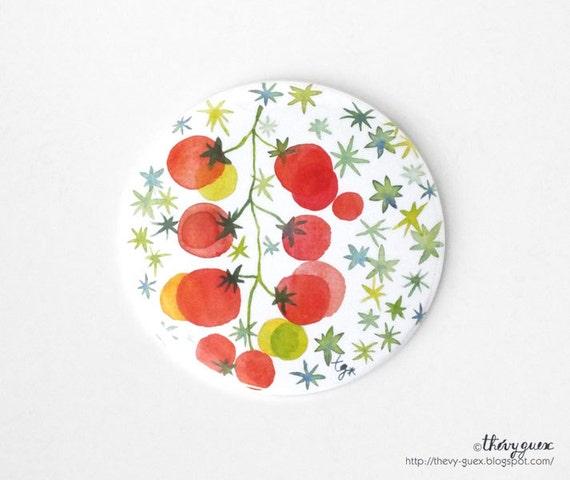 Red Cherry Red Tomatoe Watercolor Illustration Pocket Mirror, Botanical Fruit Art, Vegetable Watercolor Mini Mirror, Handbag Accessory