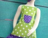 Kids Apron - Kids Ruffle Apron - Green & Purple Polka Dot