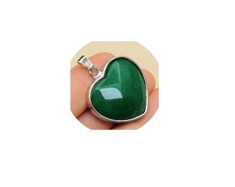 Faceted  Green Jade Heart Pendant