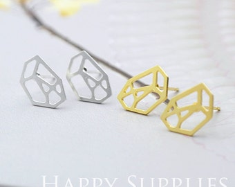 Nickel Free - High Quality Polygon Diamond Dual-used Golden / Silver Brass Earring Posts With Ear Studs Back Stoppers (ZEN010)