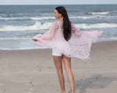 Wedding shawl, laces shawl, handknitted, laces wrap, pink wedding shawl, bridesmaid shawl, smoke rose