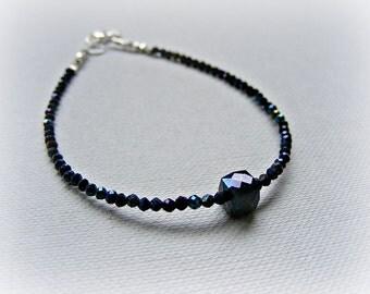 Black stacking bracelet, dainty black bracelet, mystic black spinel bracelet, delicate gemstone bracelet, Thai Karen silver bracelet