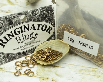 50 Jump Rings pure Raw Antique BRONZE Wire open Jumprings SawCut 18g 5/32 (4mm) I.D. chainmaille chain mail boho tribal rustic diy jewelry
