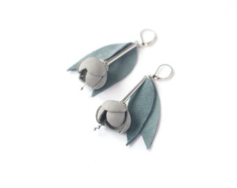 Leather earrings with Light grey flowers and grey green or pink leaves. Leather floral jewelry