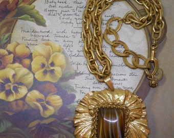 MIRIAM HASKELL Russian Gold Pendant Necklace & Chain