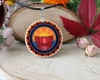Red Lotus Buddhism Symbol Necklace