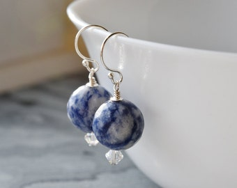 Earrings - Blue Sodalite Earrings - Gift for Her - Sterling Silver - Silver Dangle Earrings - Natural Gemstone Jewellery