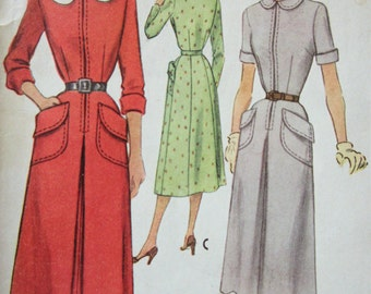 Vintage McCall 8185 Sewing Pattern, 1950s Dress Pattern, Peter Pan Collar, Large Pockets, 1950s Sewing Pattern, Bust 30, 50s Zip Front Dress