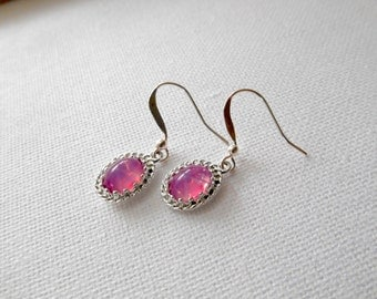 West Germany, Pink Starburst Earrings, vintage, silver earrings