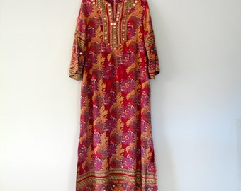 Vintage 70's I Magnin Boho Maxi Tunic Festival Dress with Mirrors