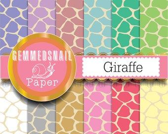Giraffe digital paper, 'Giraffe' wild animal backgrounds x 12
