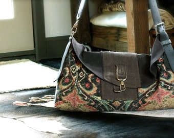 The Dinara 2 Bag Brown accents, Laptop Bag, Large messenger Bag, Travel Bag, Colorful Travel Bag, Leather, Suede Travel Bag, Carry on Travel