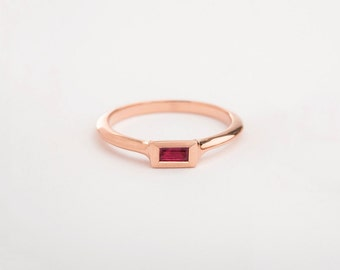 Rose Gold Ring, Ruby Stack Ring, Ruby Solitaire Ring, Unique Ruby Ring for Her, Gold Stack Baguette Ring, Minimalist Engagement