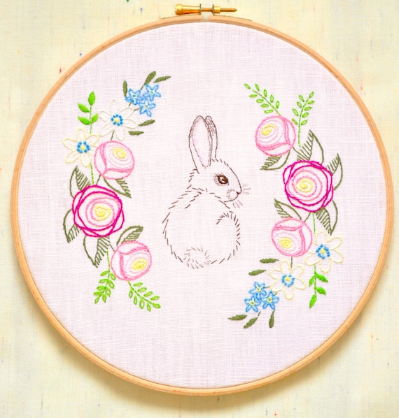 Easter bunny hand embroidery patterns by naneehandembroidery for Garden embroidery designs free