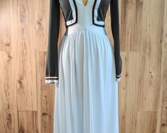 Victor Costa 1970s empire waist maxi dress in pale blue and chocolate brown