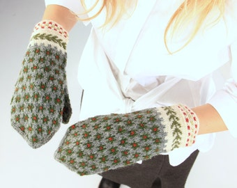 The Latvian Traditional Mittens,  hand knitted gloves from wool, ready to ship