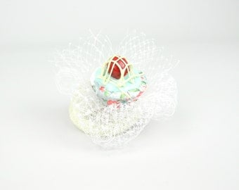 RESERVED! Fascinator Mini Headpiece Cupcake with Cherry, Flowery Vintage Decor and Veil - Hair clip Birthday Hat, Hen Party