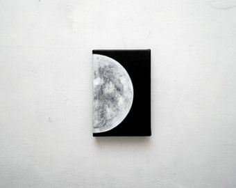 Original painting. Small painting on canvas.  Acrylic on canvas. Modern art. Contemporary. Moon. Moon phases.