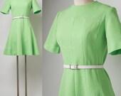 Mod Dress, Vintage Green Dress, Mad Men Dress, Knit Dress, Mod mini dress, 60s Go Go Dress - S/M