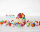 1.5CM - Tiny Wool Felt Balls - Colorful Felt Balls - 1.5CM Felt Balls - (15mm) - 100% Wool Felt Pom Poms- Mix and Match - 25, 50, 75 or 100
