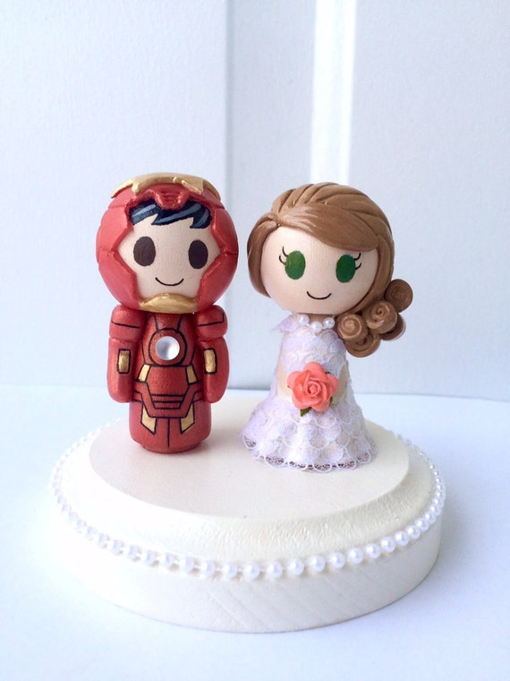 Iron Man Themed Figurine Wedding Cake Topper w customizable