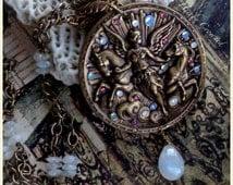 Epona Necklace ~ Art Nouveau-inspired OOAK medallion with genuine Moonstone ~ Celtic Goddess of Horses & Fertility