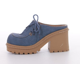 Chunky Platform Shoes 90s Platforms Mules Blue Shoes Vintage Sandals Vintage Shoes Women's Size US 8.5 / UK 6.5 / EUR 39