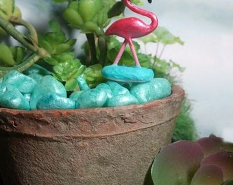 SALE NEW GLOW in the dark water  miniature flamingo   for your diorama or terrarium