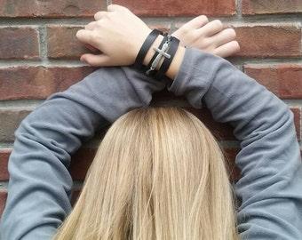 Black Leather Cuff Cross Bracelet