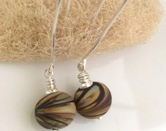 Mutlicolored Glass Earrings   Earth Tone Earrings   Lampwork Glass  Sterling Silver