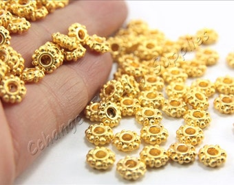 15 pcs Gold Rondelle Spacers , (7mm x 3mm) Gold Flower Spacers, 24k Matte Gold Plated Ring Spacers, Metal Gold Findings / GPY-033