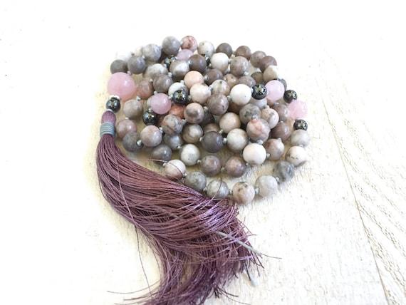 Jasper Mala Beads, Pink Zebra Jasper Mala Necklace, Gemstone Mala Beads, Silk Tassel Mala, Gemstone Knotted Mala Necklace
