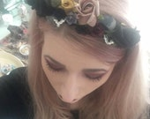Gothic Flower Crown Costume Dark Rose Headband Crystal Bats Ghosts Witch Pagan Wicca Day of the Dead Halloween Pastel Goth