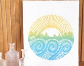"Woodblock Print ""West Rock"" Sunset at the Lake Wake Park Rockford"