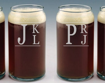 Personalized Beer Can Glass / Monogram Glasses / Etched Glasses / Custom Engraved Beer Glass / Groomsman Gift /  Select ANY QUANTITY