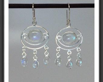 Naturally Glowing Moonstone Chandelier Earrings in Sterling Silver
