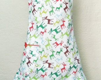 Red and Green Reindeer Christmas Apron, Rudolph Christmas Apron
