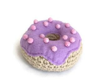 Amigurumi Donut, Pin Cushion, Crochet Stuffed Kids Play Food, Toy Doughnut w Icing and Sprinkles, Home Kitchen Nursery Children Room Decor
