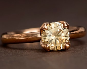Champagne Diamond Engagement Ring, Tulip Solitaire Engagement Ring in solid 14k rose gold