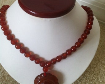 Carnelian Agate  Rose Flower Beaded Necklace