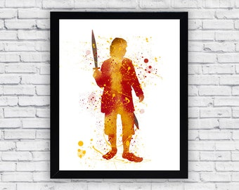 Bilbo Baggins Lord Of The Rings Watercolor print, Bilbo Baggins Lord Of The Rings  Printable Wall Art, Bilbo Lord Of The Rings  poster