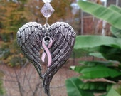 Angel Wings Breast Cancer Awareness Ornament with Pink Ribbon and Hope Charms, Glass Beads, Car Bling, Sun Catcher, Pink Heart, Swivel Hook