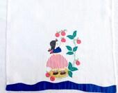 Vintage Linen Towel Appliqué Picking Apples