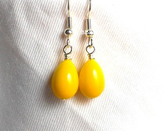 Yellow Teardrop Earrings Simple Lemon Yellow Dangles Beaded Earrings Bright Silver Plated Drop Earrings BBBBGiftsCom under 2 inches